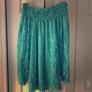 Classy/Chic Turquoise boutique shoulder less dress